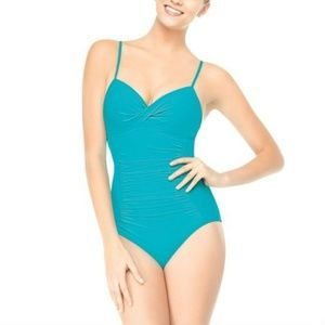 [Assets by Spanx] Teal Ruched One Piece Swimsuit S